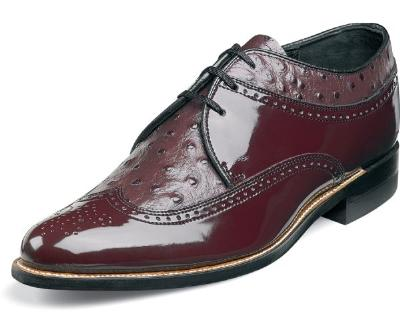 Picture of Stacy Adams Dayton Wingtip Ostrich (Burgundy)