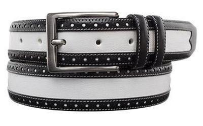 Picture of Mezlan 9389 Belt Calfshin (Black/White)