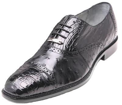 Picture of Belvedere Onesto Crocodile Ostrich Oxford (Black)